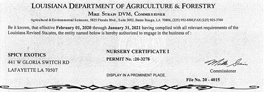 2020 Spicy Exotics Nursery Certificate